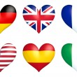 Nation hearts - Germany, Great Britain, France, USA, Spain and Italy — Stock Photo