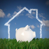 Piggy bank - drawn house in the sky (profil) — Stock Photo