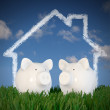 Royalty-Free Stock Photo: Piggy bank - two pigs with drawn house in the sky