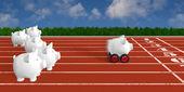 Piggy bank - pig race — Stock Photo