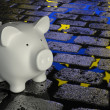 Piggy bank -  Euro reflection — Stock Photo