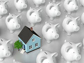 Piggy bank - grid with blue house — Stock Photo