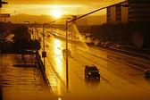 Rainy street at Sunset (Las Vegas) — Stock Photo