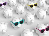 Piggy bank - grid with pigs with colorful sunglasses — Stock Photo