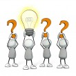 Little sketchy men with orange question mark and glowing light bulb — Stock Photo