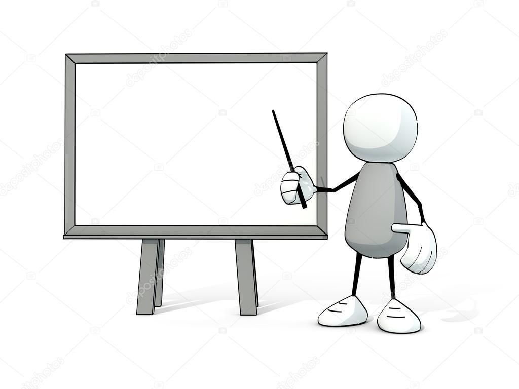 petit homme sommaire avec tableau blanc et pointeur photographie lilu foto 48934155. Black Bedroom Furniture Sets. Home Design Ideas