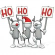 Little sketchy man with santa hat and two reindeers with Ho signs — Stock Photo #51579691