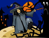 хэллоуин ведьмы разыгрывает заклинание в лесу — Cтоковый вектор