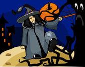 Bruja de halloween lanza un hechizo en el bosque — Vector de stock