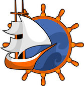 Sailboat ship — Stock Vector