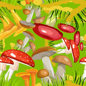 Seamless background Mushroom Glade — Stock Vector