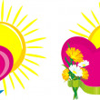 Hearts and flowers with the sun — Stock Vector