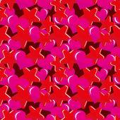 Estrellas y corazones de patrones sin fisuras — Vector de stock