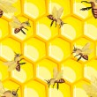 Seamless pattern with honey bees — Stock vektor