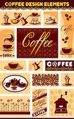 Vector set coffee design elements — Stock Vector
