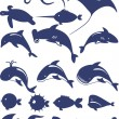 Vector collection of fish and sea animals - Stock Vector