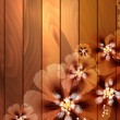 Wooden background with flowers — Stock Vector #32740689
