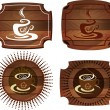 Coffee Emblems on wood texture — Stok Vektör