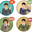 Set of gestures shows business man — Stock Vector