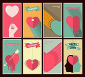 Valentine's Day set of retro posters — Stock Vector