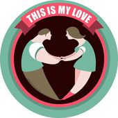 Love dancing retro poster in a circle — Stock Vector