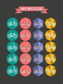 Modern Icons Bicycle Flat — Stockvektor