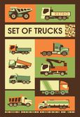 Retro set of trucks — Stock vektor