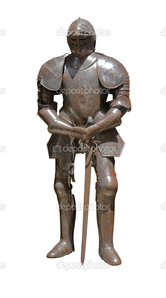 Sunny illuminated historic rusty plate armour in white back  Stock Photo #12716354