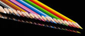 Colorful pencils in a row — Stock fotografie