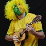 Brazilian football fan — Stock Photo