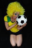 Giovane tifoso brasiliano — Foto Stock