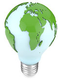 Light bulb and world map — Stock Photo