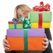 Young woman with gifts. - Stock Photo