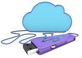 3d penaandrijving en cloud — Stockfoto
