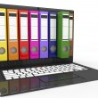 File in database. laptop with colored ring binders — Stock Photo #32585733