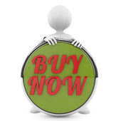 Man holding buy now button — Stock Photo