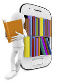 Smartphone Bookcase with Multicolor books and man reading — Foto de Stock