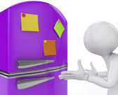 Purple fridge with colored sticky notes close-up. 3D render. — Stock Photo