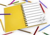 3d white person with blank spiral notepad and a pencil colors. — Stock Photo