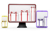 Computer, pc, tablet and gifts. — Stock Photo
