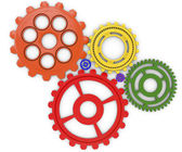 Color gears on white background. 3d rendered — Stock Photo