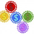 Colored gears and dollar sign — Stock Photo