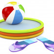 Beach ball, infatable pool with flip flops on white background — Stock Photo #47382723
