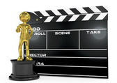 Film award and clapperboard — Stock Photo
