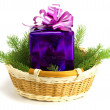 Gift with a fur-tree in a basket — Stock Photo