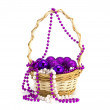 Toys in a basket on a white background — Stock Photo