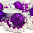 New Year's background from toys and a beads — Stockfoto