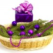 New Year's gift with a fur-tree in a basket — Stock Photo #16220555