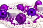 New Year's background from toys and a beads — Stock Photo