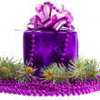 Violet gift with an ornament and a fur-tree — Stock Photo